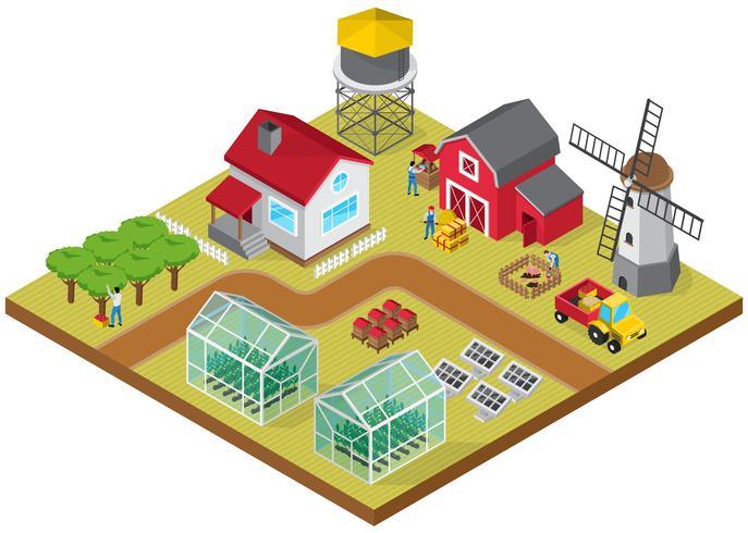 farmyard isometric game model icon vector