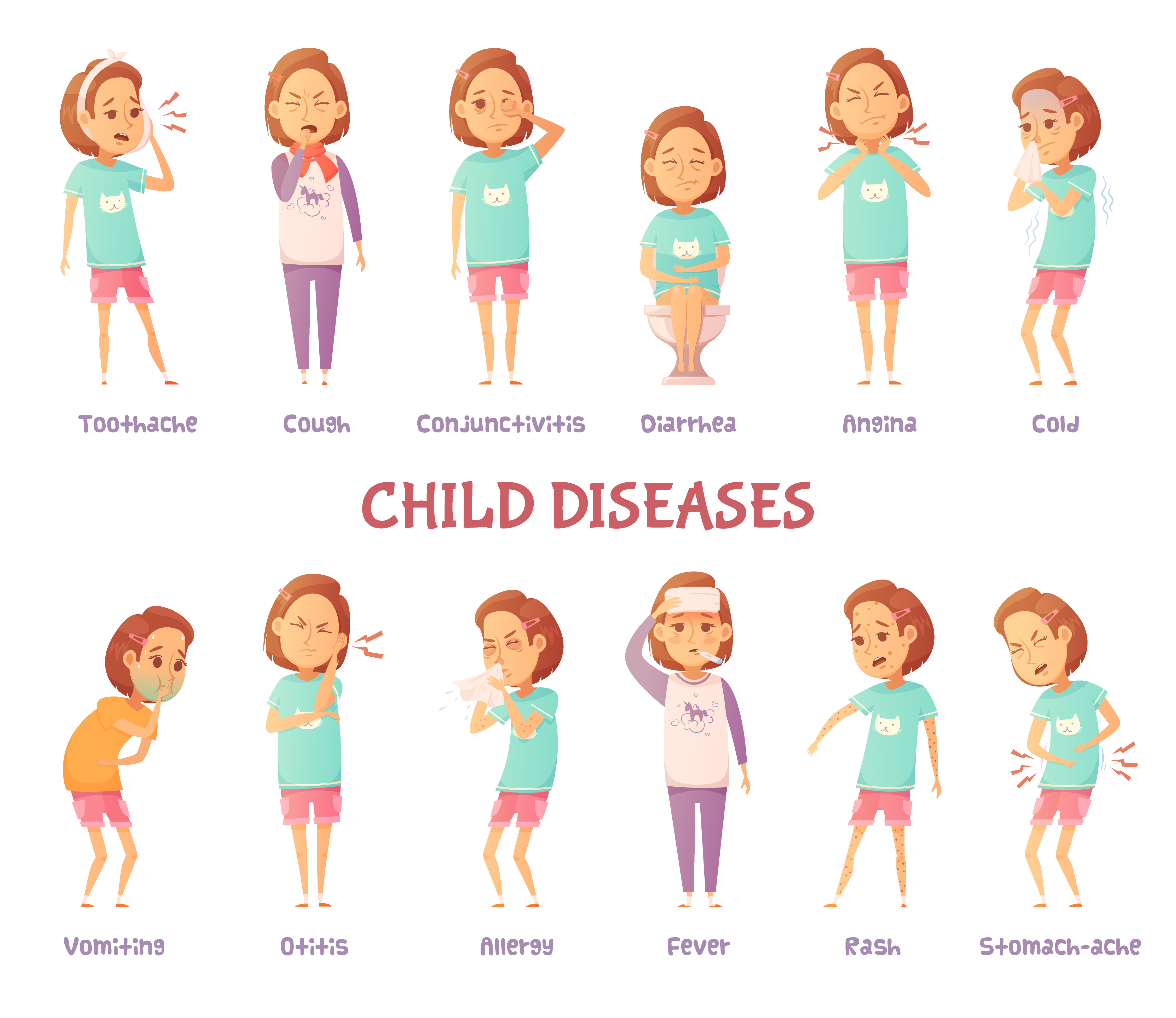 Infantile Diseases Symptoms Set - Download Free Vectors ...