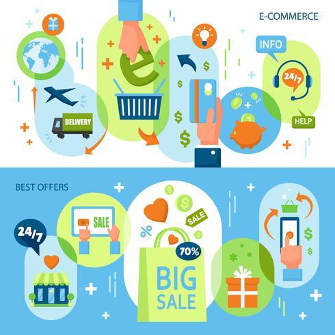 Online Shopping Horisontella Banderoller vektor