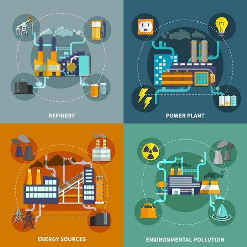 Industry flat collection layout vector