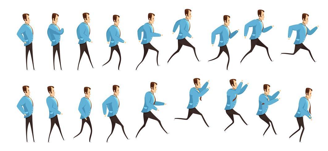 Running And Jumping Man Animation vector