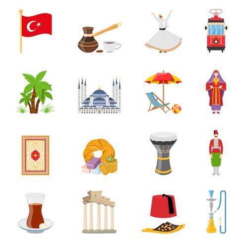 Set di icone colorate piatte Turchia