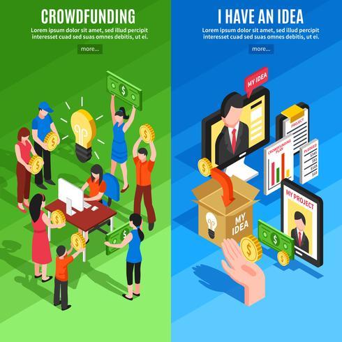 Banners verticales de crowdfunding isométrico vector