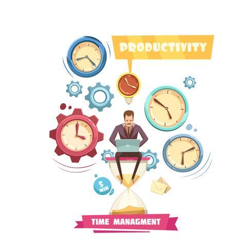 Time Management Retro Cartoon Concept vector