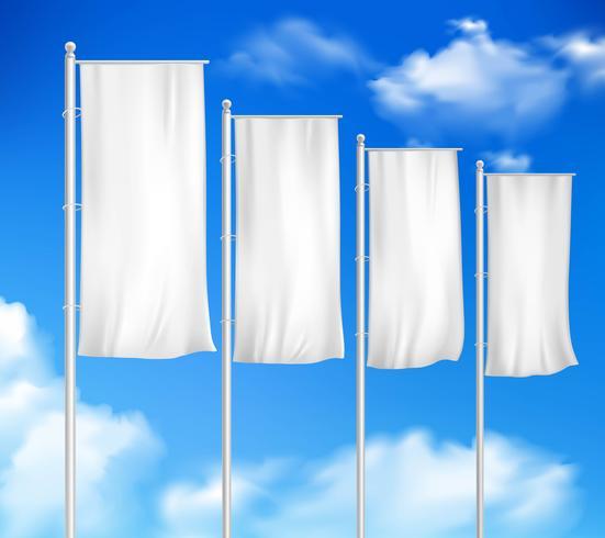 Blanco en blanco 4 banderas de poste al aire libre vector