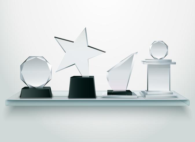 Trofeos de cristal en estante imagen realista