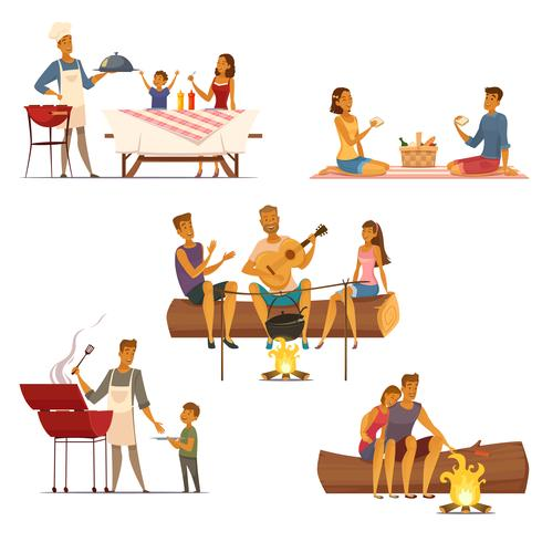 Barbecue Picnic Retro Cartoon Icons Set  vector