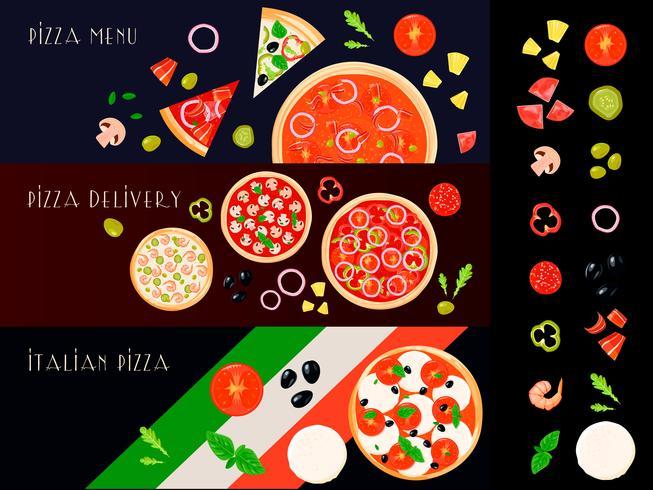 conjunto de banners de constructor de pizza