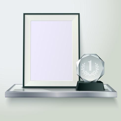 Imagem de composição realista de troféu e quadro vetor