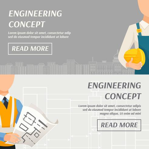 Concepto de ingeniería Banners horizontales vector
