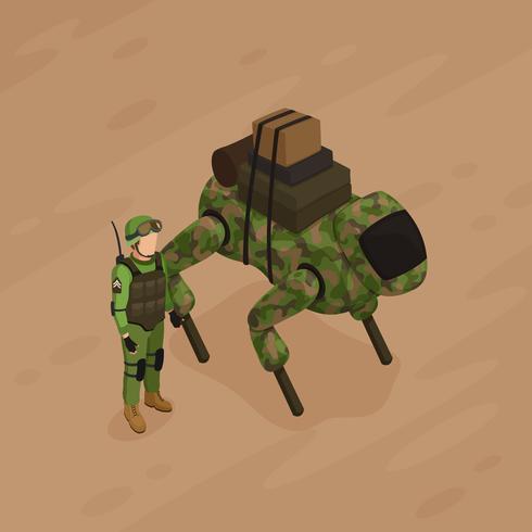 Robot soldaat isometrische illustratie