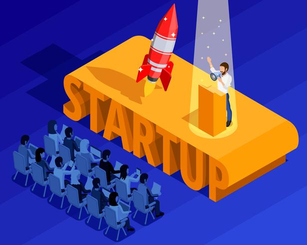 Business Startup Isometric Template vector