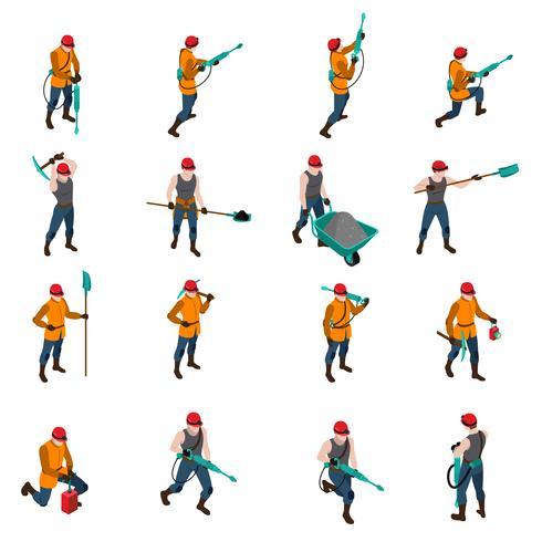 Set di icone isometriche persone minatore