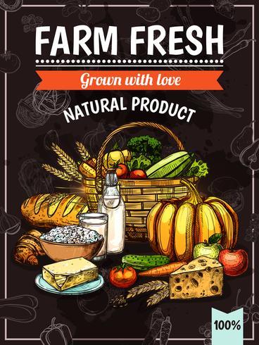 Cartel de productos de granja vector