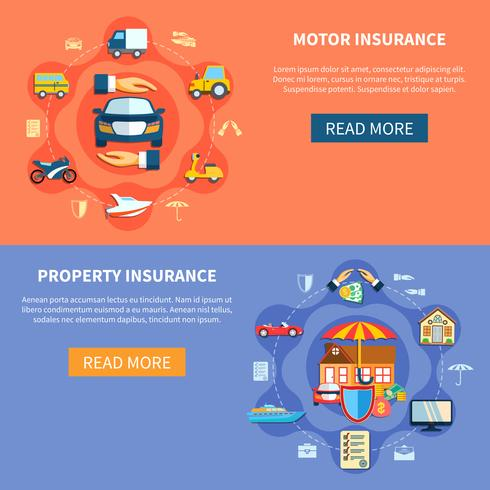 Banners horizontais de seguro de veículo e casa