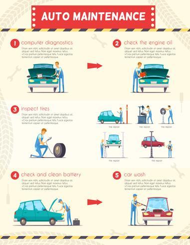 Car Centers Service Retro Cartoon Infographics
