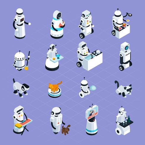 Robots caseros colección isométrica vector