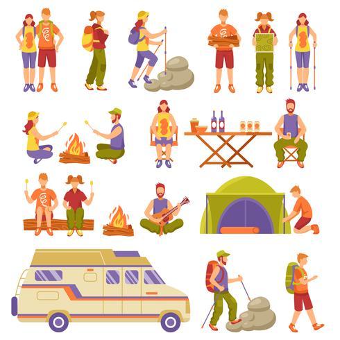 Conjunto de iconos de viajes de verano al aire libre vector