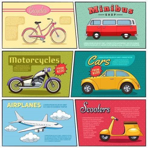 Comic Transport Mini Posters Set vector