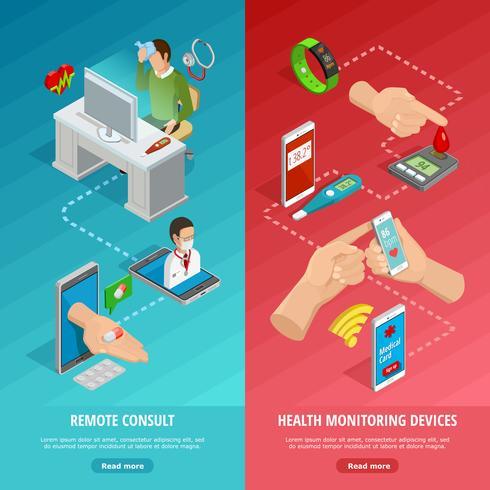 Digital Health Isometric Vertical Banners vector