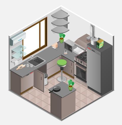 Concepto isométrico interior de cocina vector