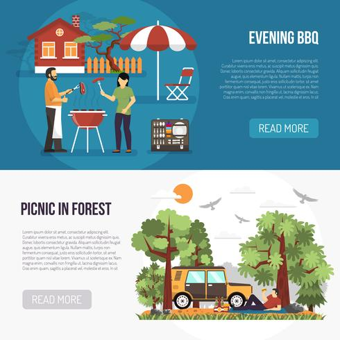 Barbecue en picknick banners vector