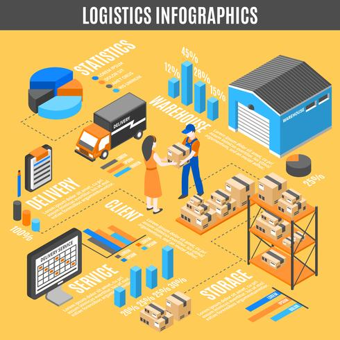 Infografía isométrica logística vector