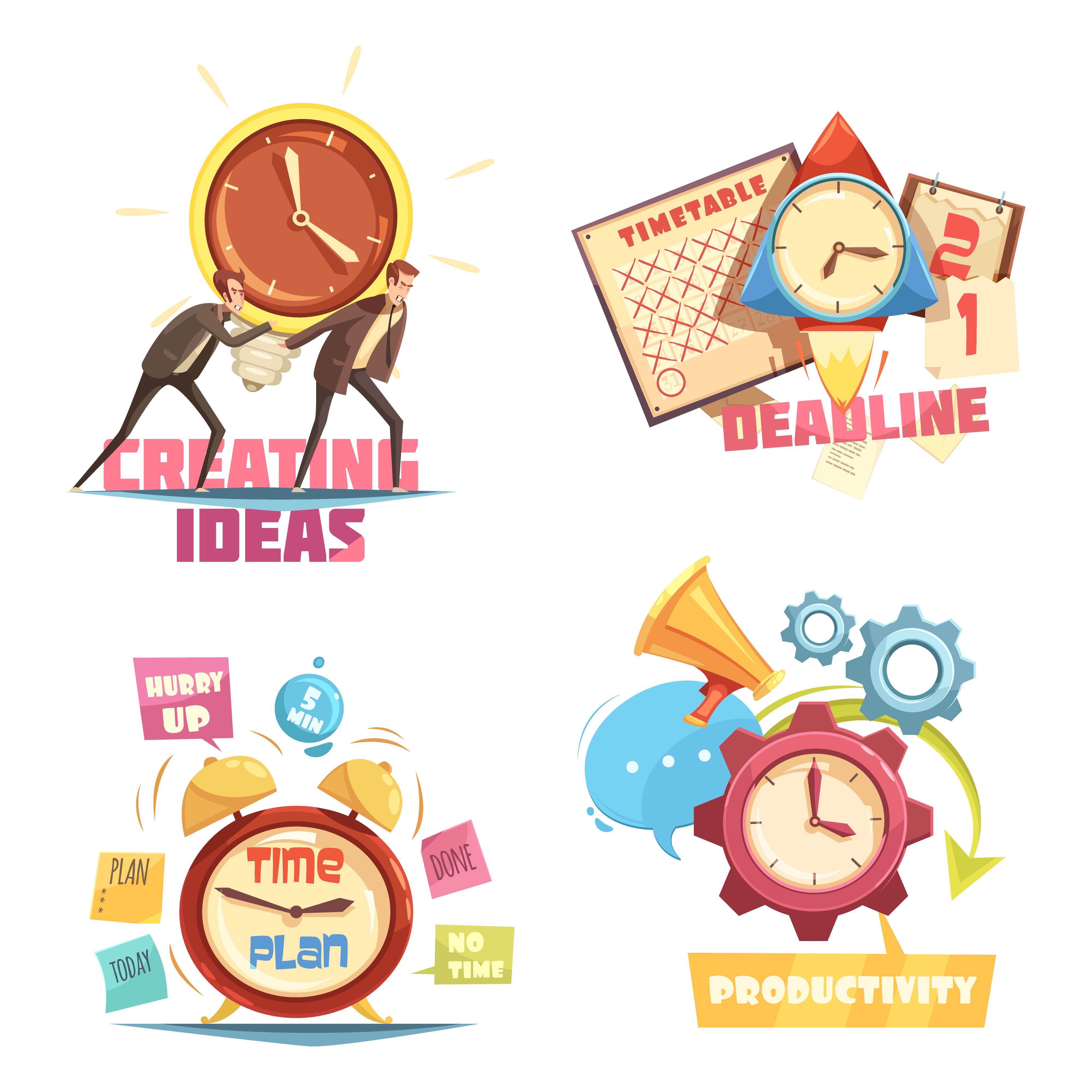 Time Management Retro Cartoon Compositions Download Free Vectors Clipart Graphics Vector Art
