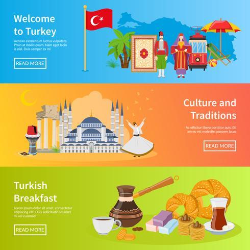 Bandiere orizzontali piatte Turchia