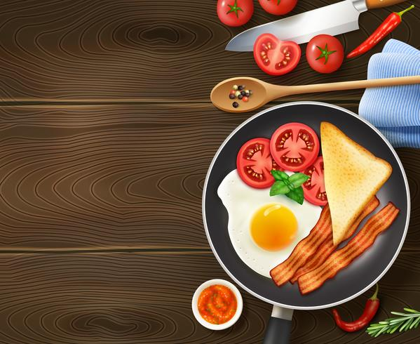 Café da manhã na frigideira vista superior