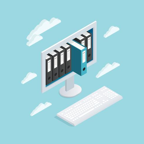 Documents Cloud Isometric Composition vector