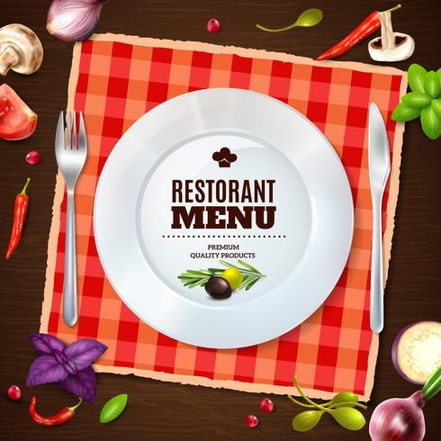 Restaurante Menú Realista Composición Backgroud Cartel vector