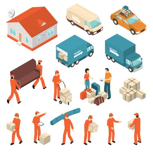 Moving Company Service Isometric Icons Set vecteur