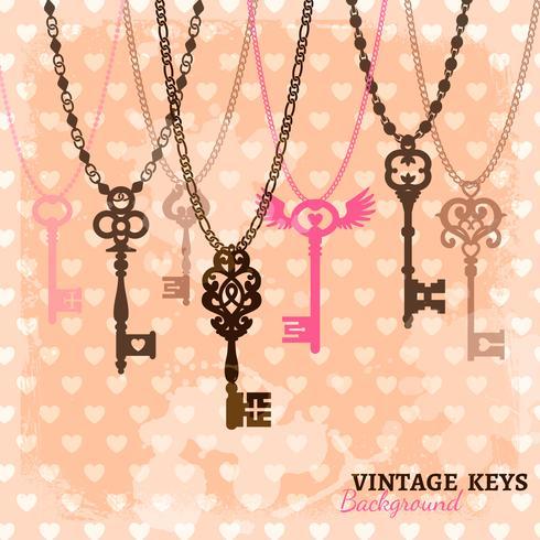 Modelo de chaves penduradas vintage vetor