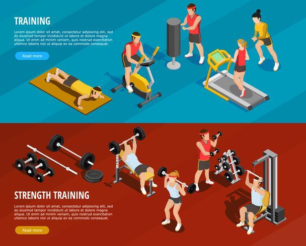 Banners horizontais de treinamento esportivo vetor