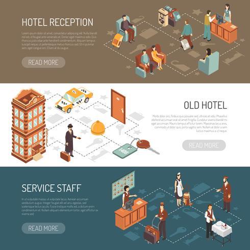 Hotel isometrische horizontale banners vector