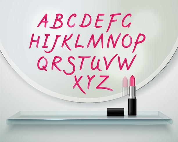 Lápiz labial Alfabet Estante Espejo Realista Composición vector