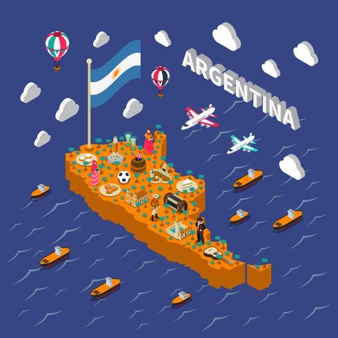 Cartel isométrico del mapa isométrico de las atracciones turísticas de Argentina vector