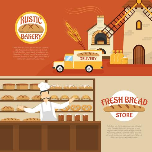 Bakery Horizontal Banners vector