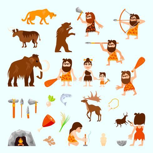 Conjunto de iconos planos de la edad de piedra vector