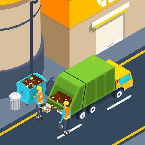 Cartel isométrico de recolección de basura vector