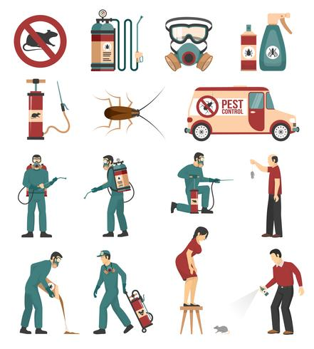 Pest Control Service Flat Icons Collection