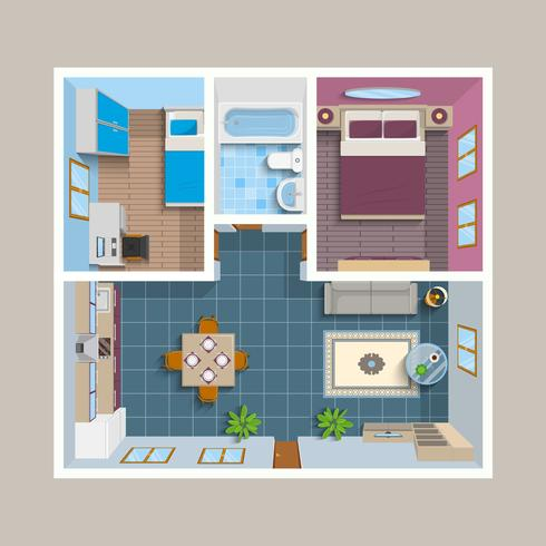 Flat Architectural Plan Top View Position vector