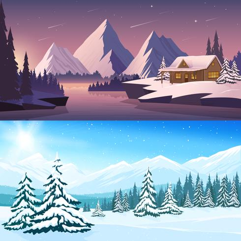 Banners horizontales de paisaje de invierno vector