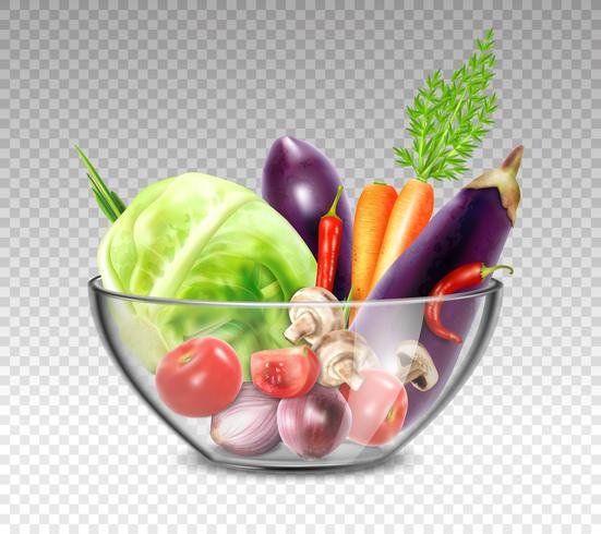 Verduras realistas en un tazón de vidrio vector