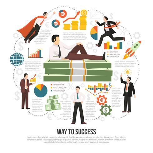 Camino al éxito de infografía plana cartel vector
