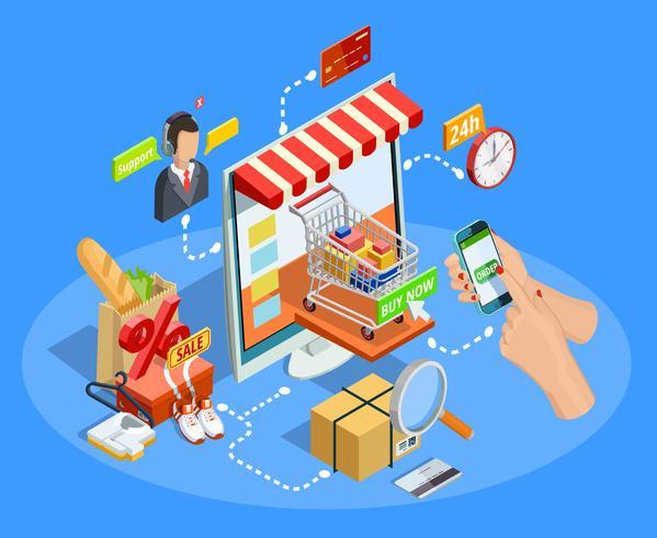 Compras concepto de comercio electrónico cartel isométrico vector