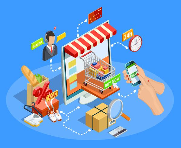 Compras E-commerce Concept Isometric Poster vetor