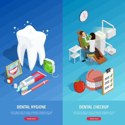 Dentistry Isometric Vertical Banners vector