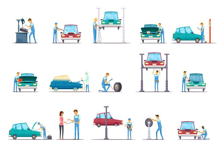 Auto reparatieservice Cartoon pictogrammen collectie vector